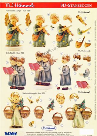 Hummel Children As Angels Die Cut 3d Decoupage Sheet